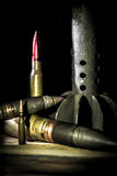 Weapons, cartridge on wooden background. Place for text Stock Image