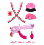 Weapons Cupid Set. Military love accessories. Breaking guarantor Royalty Free Stock Image