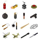 Weapons 3d Icons Set Isometric View. Vector. Weapons 3d Icons Set Isometric View Defense Element for Web Design. Vector illustration of Weapon Military War Royalty Free Stock Images