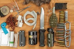 Weapons and Equipment secret agent. Preparing for a secret mission. Equipment terrorists stock images