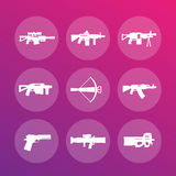 Weapons, firearms icons Royalty Free Stock Image