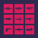 Weapons, firearms icons set. Sniper and assault rifles, pistol, crossbow, smg, machine gun, grenade, rocket launchers Royalty Free Stock Photography