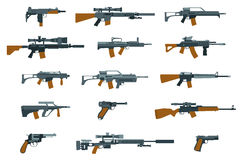 Weapons flat icons. Shotgun and machine gun. Weapons flat icons. Gun and rifle, shotgun and machine gun. Vector illustration Royalty Free Stock Photography