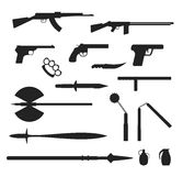 Weapons flat vector collection isolated on white background Royalty Free Stock Photos