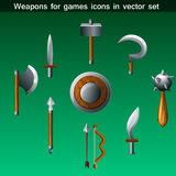 Weapons for games icons vector set. In vector royalty free illustration