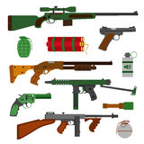 Weapons  guns collection. Pistols, revolver, submachine gun Royalty Free Stock Images