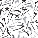 Weapons and guns gray pattern Stock Photo