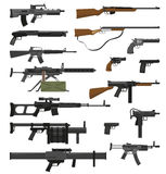 Weapons Guns Set. Big flat set of various weapons guns pistols and rifles isolated on white background vector illustration Stock Photo