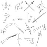 Weapons and guns simple outline icons Royalty Free Stock Photos
