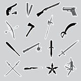 Weapons and guns stickers Stock Photo