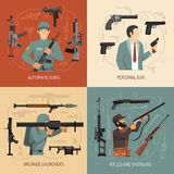 Weapons Guns 2x2 Design Concept Royalty Free Stock Photography