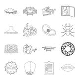Weapons, hunting, insect and other web icon in outline style.sport, hotel, lighting icons in set collection. Royalty Free Stock Photos