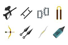 Weapons icon set, flat style. Weapons icon set. Flat set of weapons vector icons for web design isolated on white background Stock Photos