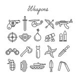 Weapons icon set. In modern linear style Royalty Free Stock Photography