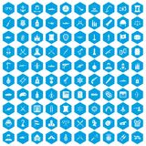 100 weapons icons set blue. 100 weapons icons set in blue hexagon isolated vector illustration Royalty Free Illustration