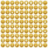 100 weapons icons set gold. 100 weapons icons set in gold circle isolated on white vector illustration Stock Illustration