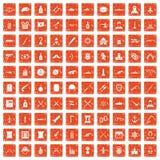 100 weapons icons set grunge orange. 100 weapons icons set in grunge style orange color isolated on white background vector illustration Stock Photo