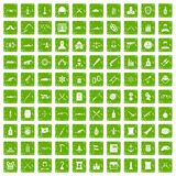 100 weapons icons set grunge green Royalty Free Stock Photo