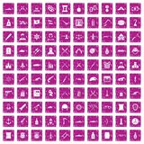 100 weapons icons set grunge pink. 100 weapons icons set in grunge style pink color isolated on white background vector illustration Royalty Free Illustration