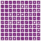 100 weapons icons set grunge purple. 100 weapons icons set in grunge style purple color isolated on white background vector illustration Royalty Free Stock Photography