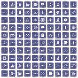 100 weapons icons set grunge sapphire. 100 weapons icons set in grunge style sapphire color isolated on white background vector illustration Stock Photo