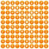 100 weapons icons set orange. 100 weapons icons set in orange circle isolated on white vector illustration Stock Illustration