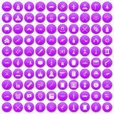 100 weapons icons set purple. 100 weapons icons set in purple circle isolated on white vector illustration Stock Illustration
