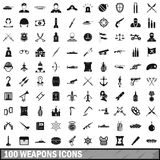 100 weapons icons set, simple style Stock Images