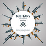 Weapons label. Vector guns badge with text. Automatic weapons uzi, illustration banner with group of weapons Royalty Free Stock Photos
