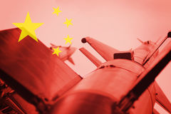 Weapons of mass destruction. Chinese ICBM missile. War Backgroun Royalty Free Stock Image