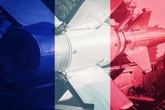 Weapons of mass destruction. France ICBM missile. War Background Stock Images