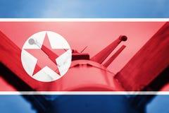Weapons of mass destruction. North Korea ICBM missile. War Backg Stock Photography