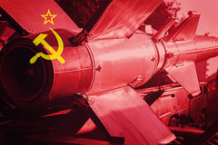 Weapons of mass destruction. Soviet Union ICBM missile. War Back. Ground. Nuclear Missile royalty free stock images
