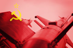 Weapons of mass destruction. Soviet Union ICBM missile. War Back Royalty Free Stock Photography