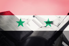 Weapons of mass destruction. Syrian ICBM missile. War Background Royalty Free Stock Image
