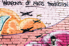 Weapons of Mass Production Graffiti Wall Royalty Free Stock Photography