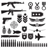 Weapons and military set. Sub machine guns, pistol and bullets black icons isolated on white background. Symbolics and badge for a. Rmy. Vector illustration stock illustration