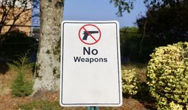 Weapons Prohibited. A sign on a business warns trespassers that no weapons are allowed on their property Royalty Free Stock Photography