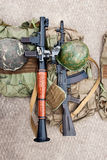 Weapons and protective gear soldier Stock Photography