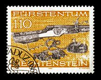 Weapons, serie, circa 1980. MOSCOW, RUSSIA - AUGUST 18, 2018: A stamp printed in Liechtenstein shows Weapons, serie, circa 1980 royalty free stock image