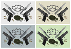 Weapons Sets. Color Stock Photography