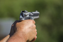 Weapons. Shooting weapons at the gun range Royalty Free Stock Photography