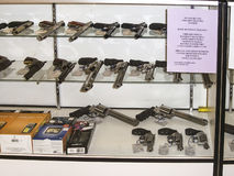 Weapons in a shop in Los Angeles. MORENO VALLEY, USA - JULY 6, 2008: shop for weapons and guns in Los Angeles, USA. The first major federal firearms law passed Royalty Free Stock Image