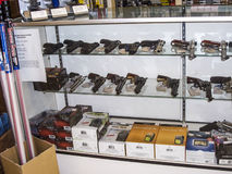 Weapons in a shop in Los Angeles Stock Photos