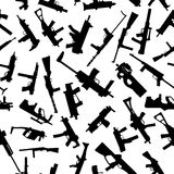 Weapons silhouettes on white. Seamless pattern. Royalty Free Stock Photography