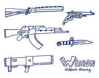 Weapons sketch. Royalty Free Stock Photos