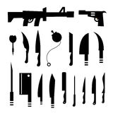 Weapons symbol set Royalty Free Stock Image