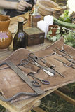 Weapons of torture. Case of medieval weapons in celebration event, war Stock Photo