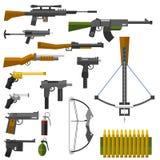 Weapons guns pistols submachine assault rifles sniper knife handgun bullets icons vector illustration. vector illustration