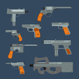 Weapons vector handguns collection. Royalty Free Stock Images